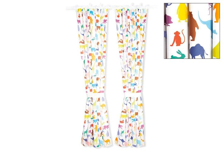 Rideaux de Chambre pour enfant Happy Zoo 245 cm (la paire)