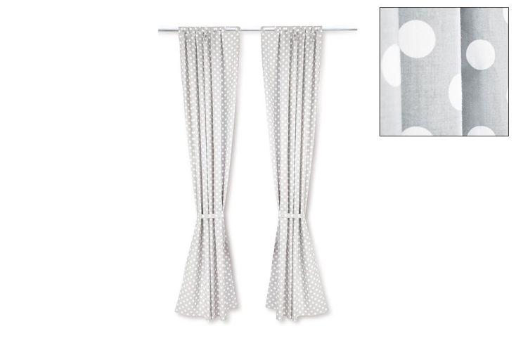 Rideaux de Chambre pour enfant Gris à Pois Blancs 245 cm (la paire)