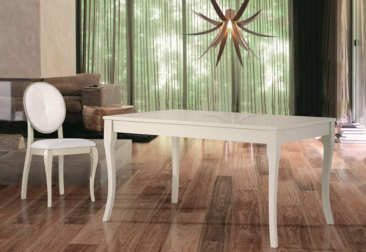Salle manger laqu e table extensible 140 200x90 aragon for Salle a manger laquee blanche