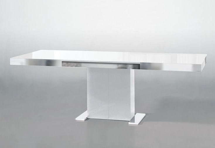 Salle manger en pin recouvert d 39 acier et de verre for Table a manger verre extensible