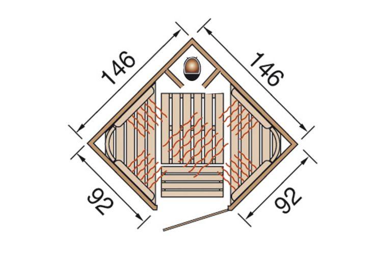 Combi Sauna Angle et Infrarouge Radiant Vis-à-vis