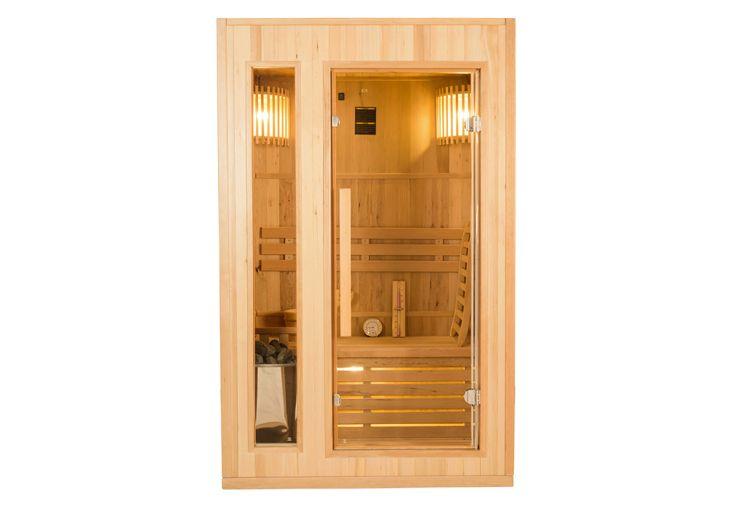 Sauna traditionnel en bois d'épicéa et verre sécurisé