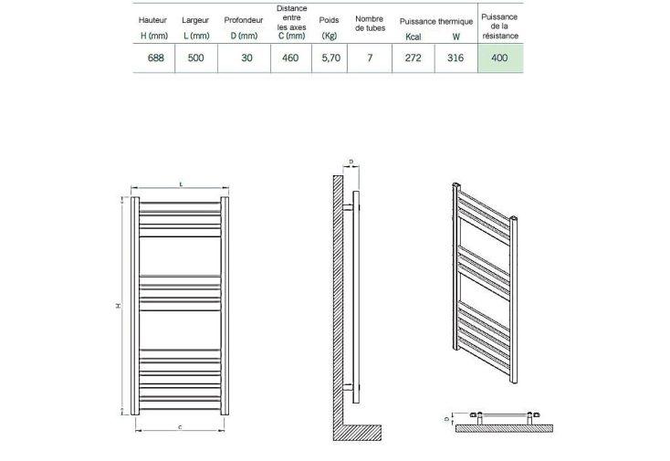 Sèche-Serviettes Electrique Design Djon (68,8x50cm)