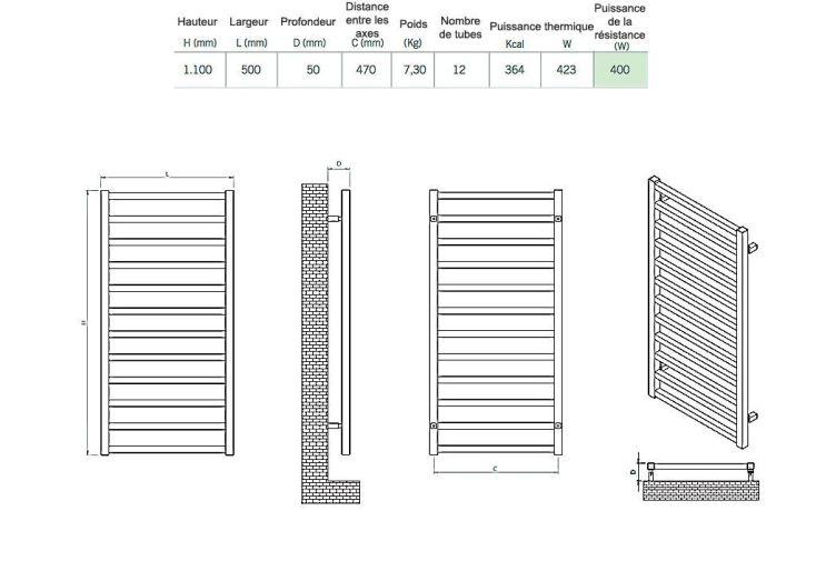 Sèche-Serviettes Electrique Design Karnak (100x50cm)
