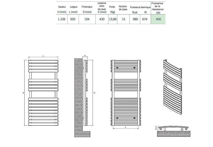 Sèche-Serviettes Electrique Design Pukita (1106x500cm)