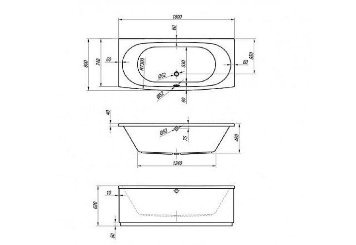Baignoire Rectangulaire 180x80 Acrylique Vip