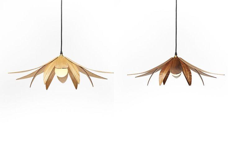 Lampe Suspension Design en Bois Lotus 70x18cm
