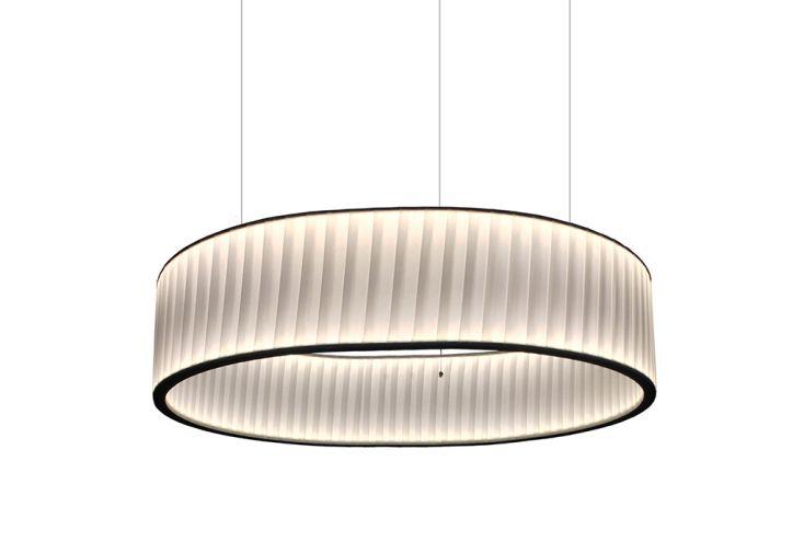 Suspension Luminaire LED avec Abat-Jour en Ruban Dix Heures Dix Ronde Ø 80 cm