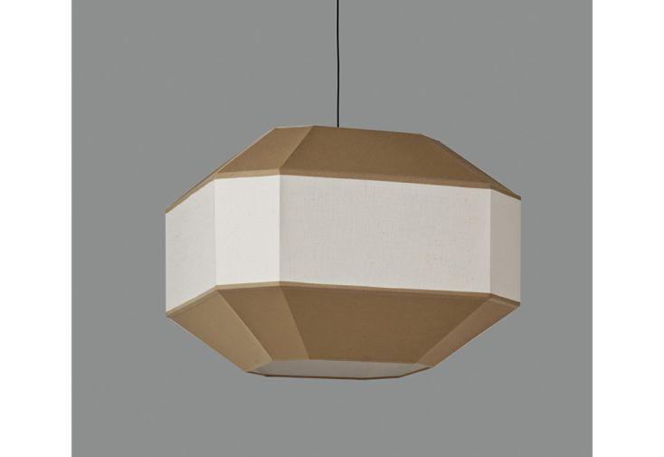 Lustre en métal, lin et coton Bauhaus ⧄ 60 cm sable