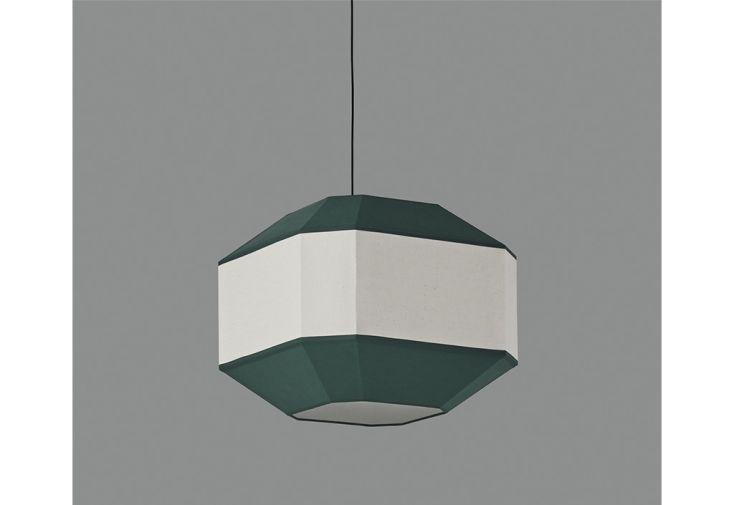 Lustre en métal, lin et coton ACB Bauhaus ⧄ 45 cm vert