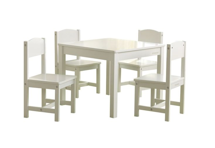 ensemble table et 4 chaises en bois blanc pour enfant Kidkraft