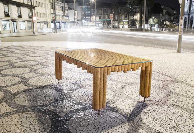 Table à Manger Design en Liège, Cuivre et Verre Bolzano