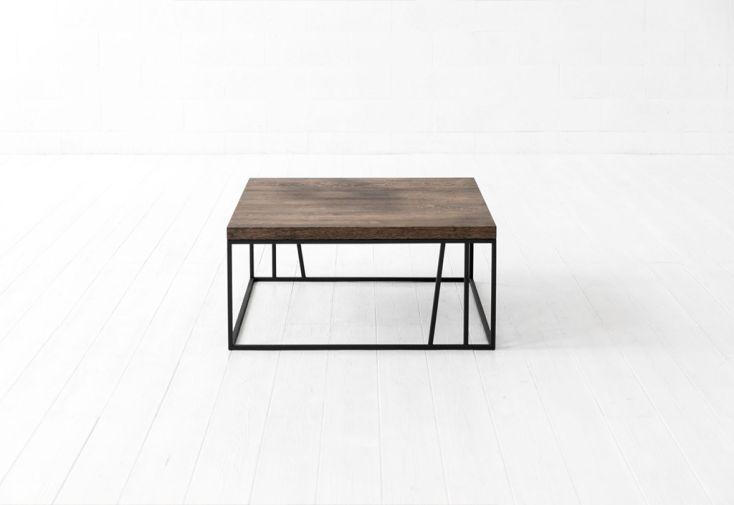 Table basse de salon en bois de chêne et en acier