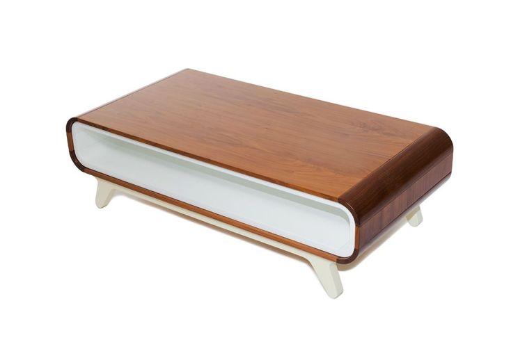 Table Basse en Noyer et MDF Laqué 100x50x30cm (l,l,h)