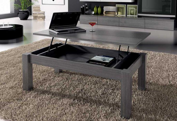 Table Basse Elevable Dublin 100x50x42/57cm Grise