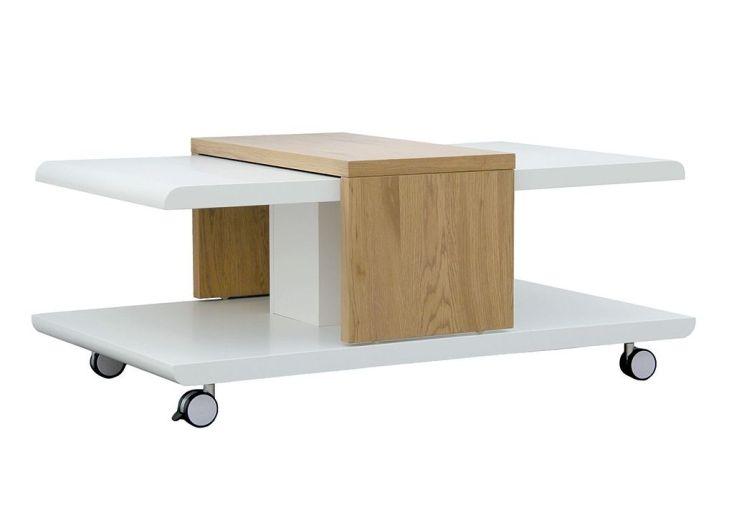 table basse en bois modulable sur roulettes avec plateau ajustable
