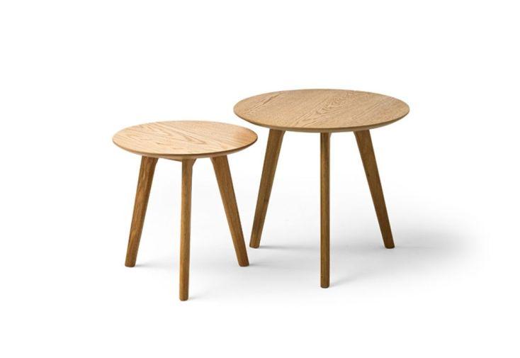 Table Basse De Salon En Bois Ronde Lot De 2 Meuble Maison