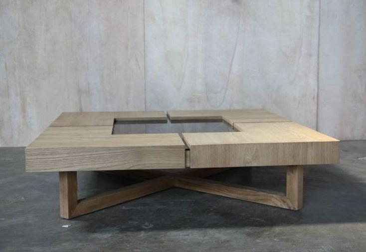 Table basse carr e en teck et verre 120x120x31cm b cosy - Table basse carree teck ...
