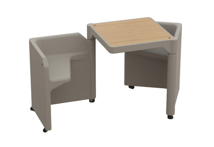 Table Modulable Be-Twin Taupe avec 2 Assises et 2 Rangements