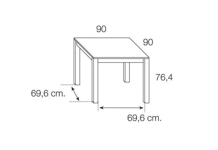 Table de Salle à Manger Extensible Paris 90/180x90cm (Pls coloris)