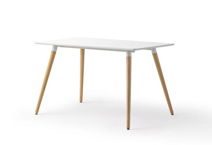 Table De Salle A Manger Rectangulaire En Bois Laque Blanc 120 Cm