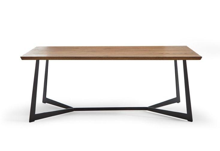 table de salle à manger rectangulaire en bois et métal 200 cm 10 personnes