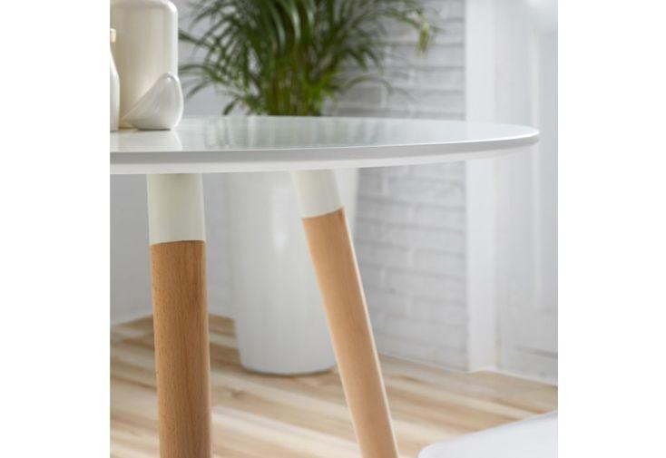 Table de Salle à Manger Ronde en Bois Laqué Blanc – 90 cm - Meuble ...