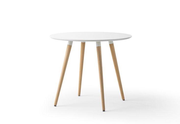Table De Salle A Manger Ronde En Bois Laque Blanc 90 Cm Meuble