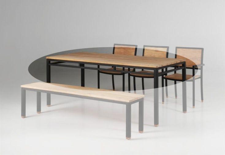 Table en Teck et Fer Forgé Luna 200x78cm