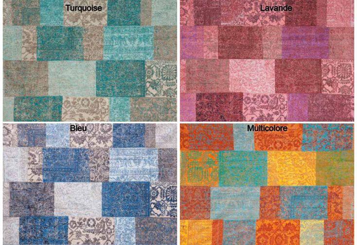 tapis en chenille de coton patchwork 70x140cm 10 coloris. Black Bedroom Furniture Sets. Home Design Ideas