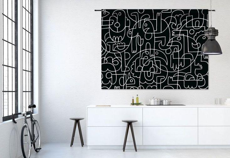 Tapisserie Murale Design en Coton Bio 145x190cm Doodles