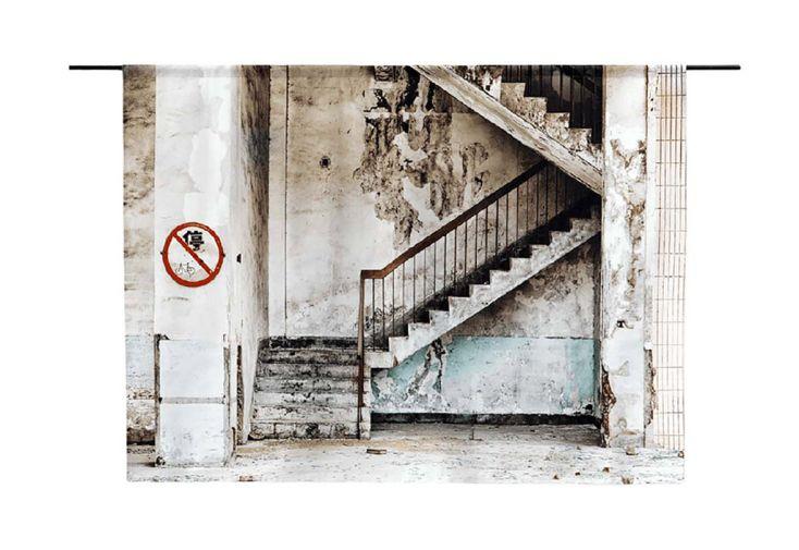 Couverture Murale Design Escaliers en Coton Bio Concrete Stairs Imprimé