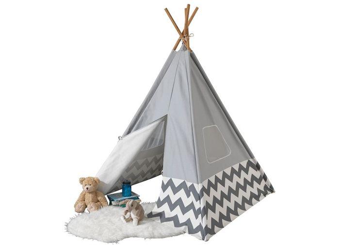 tipi en bois de bambou et tissu gris cabane pour enfant