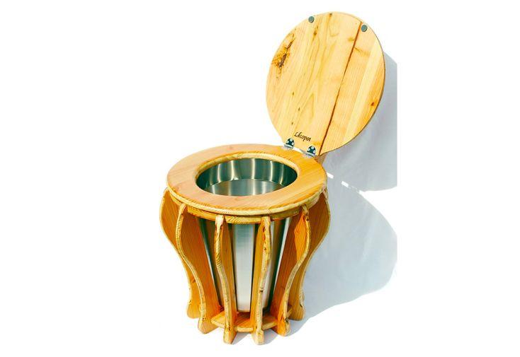 Toilette Sèche en Bois de Douglas Lécopot Belladonna 45 x 56 cm avec Seau Inox