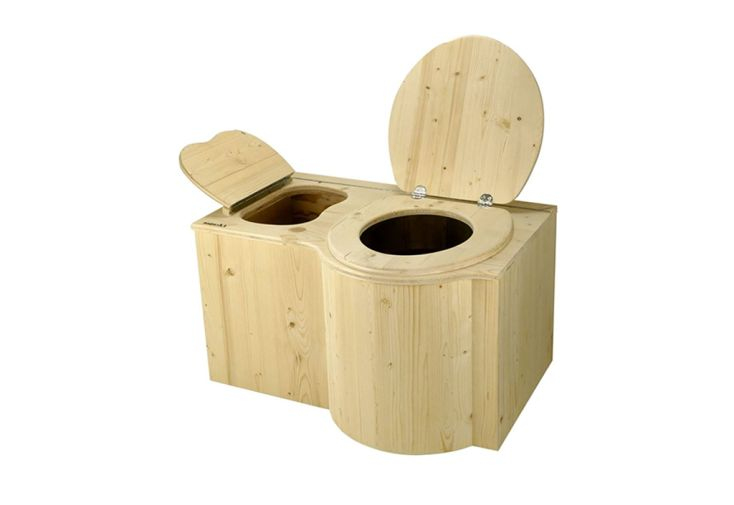 Toilette sèche en bois d'épicéa avec bavette en inox