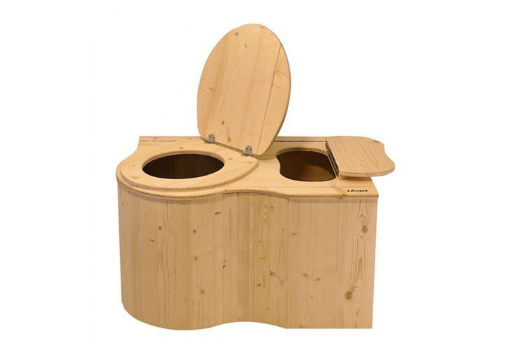 Toilette sèche d'angle en bois d'épicéa brut ou vernis