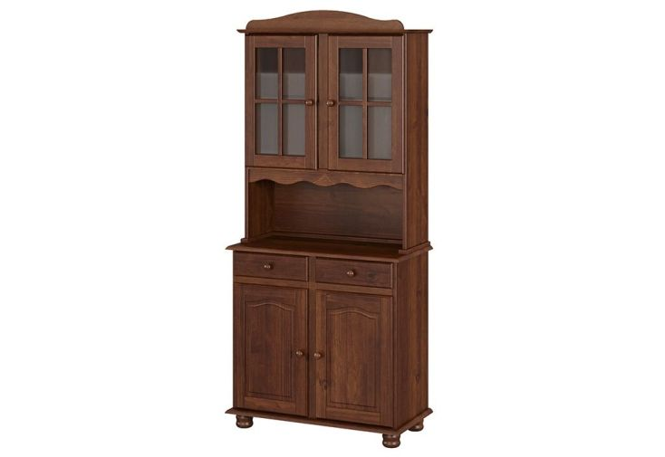 vaisselier en bois massif marron avec portes vitrées et portes pleines