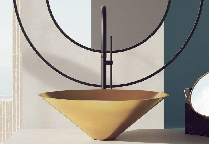 Vasque de salle de bain minimaliste et moderne en acier