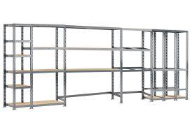 Meuble de Rangement en Acier avec 4 Étagères et 3 Box 505 x 192 cm peinture époxy grise rayonnage garage rangement outils