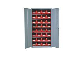 armoire de rangement en acier avec bacs de stockage rouge en polypropylène