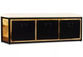 banc en bois de manguier unique et original cadre fer forgé