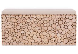 banc en bois effet rondins véritable avec coussin confortable