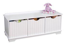banc de rangement pour enfant en bois de couleur blanc
