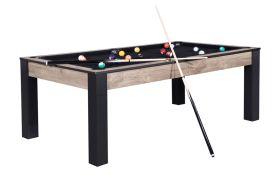 Billard contemporain en bois convertible en table 8 personnes