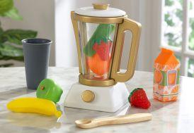 Blender en bois et plastique pour enfant avec fruits factices