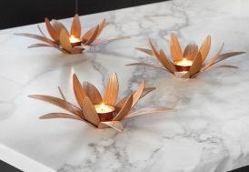 Bougeoir Design en Bois Lotus 27x8cm