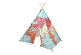 Tipi pour enfant Sunny World Map en bois et coton 160 cm