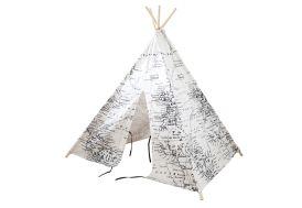 Tipi cabane enfant en bois et tissu noir et blanc