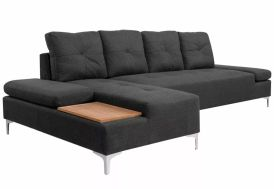 canapé d'angle avec grande méridienne et plateau en bois 4 places