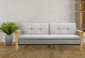 canapé lit en bois et en lin gris cocooning scandinave